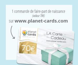 Commande de faire part de naissance Planet Cards à gagner