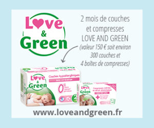 2 mois de couches et compresses Love and Green à gagner