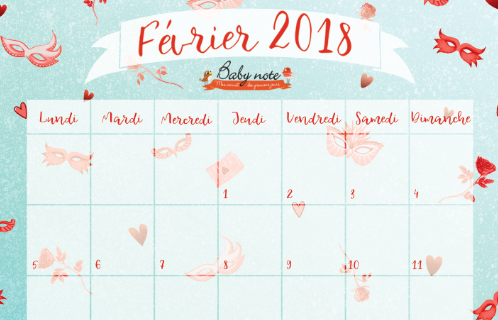 Fevrier Calendrier.Calendrier De Fevrier Gratuit A Telecharger Baby Note