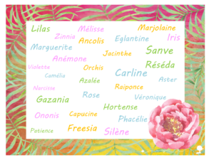 Des jolies fleurs, une planche à télécharger pour choisir le prénom de bébé