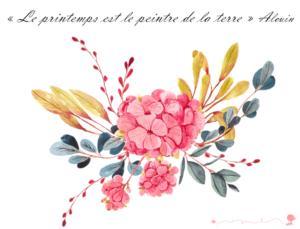 Citation sur le printemps et la peinture avec une jolie illustration