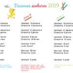 Calendrier des vacances scolaires 2019 à imprimer